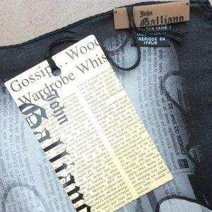❤️NWT JOHN GALLIANO Gazette Print Silk Scarf